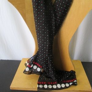 Cejon Scarf Black Red White Polka Dots Sheer Poly